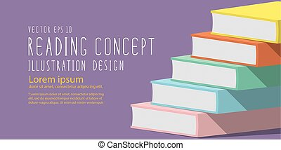 Stack of books heading banner flat vector. - Illustration...