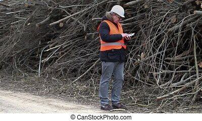 Forest inspector talking and show gestures near to to pile...