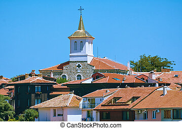 Houses of Nessebar under the Blue Sky. Bulgaria