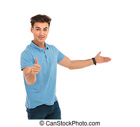 man showing thumbs up and presenting