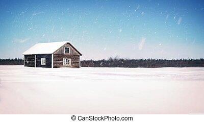 Old Wooden Farm House In Snowfall - Old barn style farmhouse...