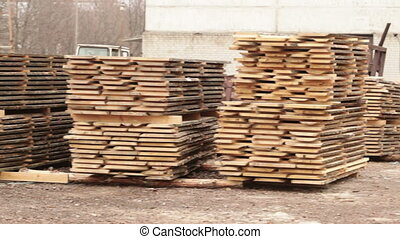 pile with boards of stock wood