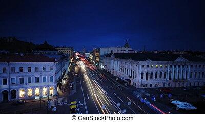 Nevsky Prospect, Green Bridge, Rive - Time lapse footage...