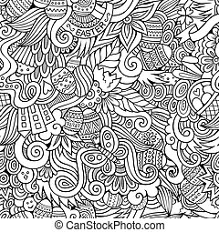 Easter doodles seamless pattern