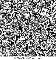 Cartoon hand-drawn doodles on the subject of Casino style...