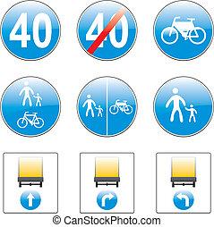 vetorial, europeu, tráfego, sinais, detalhes