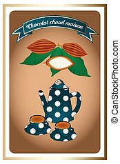 French retro chocolate poster - detailed illustration of...