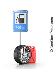 Automotive wheel with a road sign and a canister on a white...