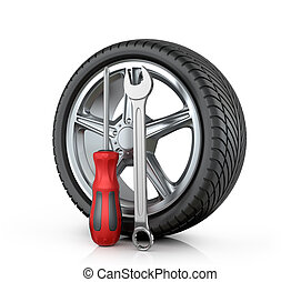 Automotive wheel with tools on a white background.
