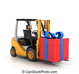 Forklift with gift box on a white background.