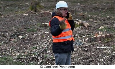 Angry Forest inspector with smartphone at clearcutting...