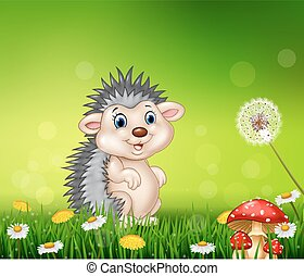 Cute little hedgehog on grass - Vector illustration of Cute...