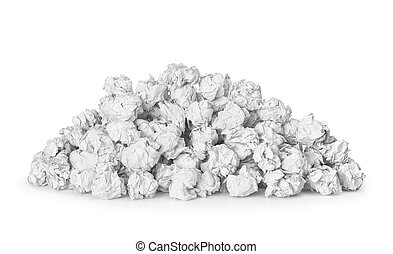 a large pile of crumpled paper isolated on white background...