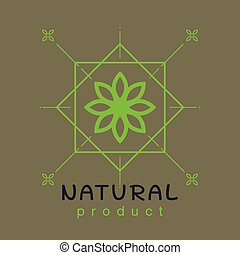 Natural product logo design template . Branch with green leaves