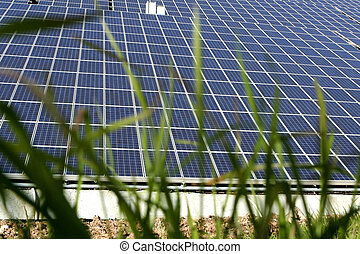 Sun Energy Farm - Modern solar photo voltaic panels with...