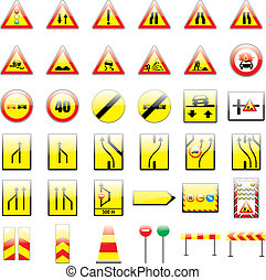 fully editable vector european traffic signs with details...