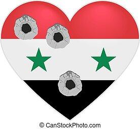 Coração, bandeira, Síria, Síria, perfurado