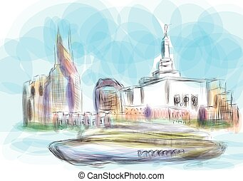 nashville. abstract silhouette of city on multicolor...
