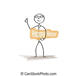 man with happy hour - man with text Happy hour on white...