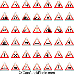 vector european traffic signs - fully editable vector...