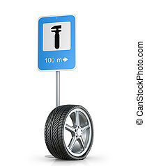 Flat tire with road sign on a white background.