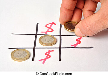 Euro Winning - Tic-tac-toe board with winning euro coins