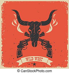 Western wild west poster background on red paper - Western...