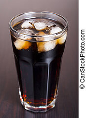 Glasses of cola drink - Black cola in a glass with ice real,...
