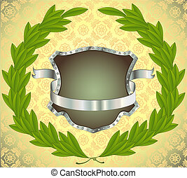 Shield with banner and wreath - Shield with silver banner...