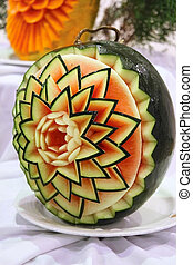 Watermelon with pattern like flower - Patterns made in...