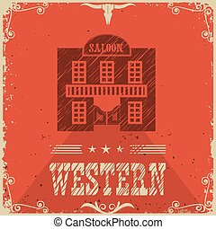 WEstern saloon poster bacground - Western saloon red poster...