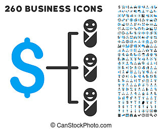 Baby Budget Icon with Flat Glyph Set - Baby Budget icon...