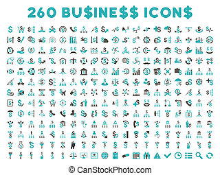 260 Flat Glyph Business Icons - 260 Business glyph icons...