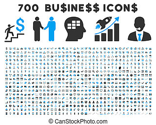 700 Flat Glyph Business Icons - 700 Business glyph icons...