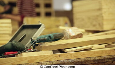 carpenter at work power tools wood video