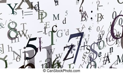Variables letters and symbols on white