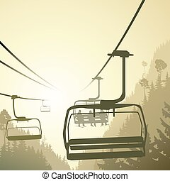 Mountain forest with ski lift. - Square illustration...