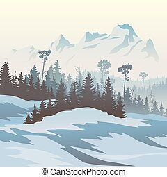 Winter coniferous forest - Square vector illustration of...