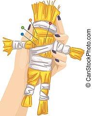 Hand Voodoo Doll Pins Curse - Illustration of a Voodoo Doll...