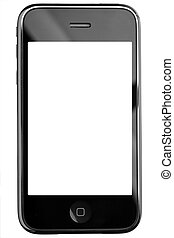Modern touch screen phone isolated on white background....