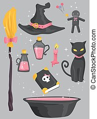 Colorful Witch Design Elements - Grouped Illustration of...