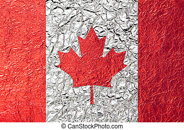 Canada Flag with a Shiny  leaf  Bronze Shiny  leaf   foil texture background