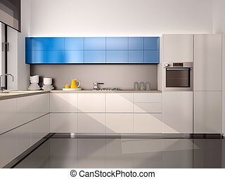 3d illustration of interior of modern kitchen in white blue...