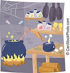 Witch Kitchenroom Cauldron - Illustration of the Kitchen of...