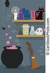 Witch Room Pot Broom Shelf - Illustration of the Room of a...