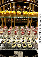 Dessert display in the buffet restaurant