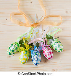 Five colorful handmade easter eggs