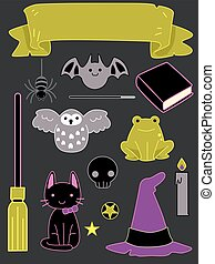 Halloween Witch Stickers - Illustration of Ready to Print...
