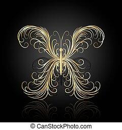 Gold swirl pattern in shape of a butterfly.