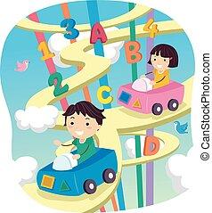 Stickman Alphabet Kids Car Sky Highway - Stickman...